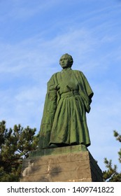 Kochi, Shikoku/ Japan - March 19, 2019. The statue of Famous Sakamoto Ryoma, a Japanese prominent contributing the modernization of Japan in Katsurahama beach.