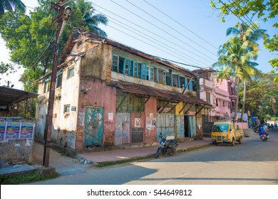KOCHIN, INDIA - DECEMBER 16, 2016: A colorful old house in the colonial city of Kochin in Kerala.