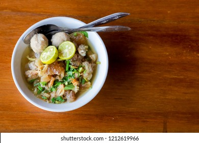 (Kocok Noodle) Mie Kocok Bandung, Traditional Food from Meatballs, Kikil,  Bean Sprouts.