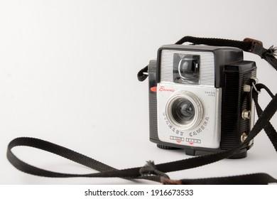Kodak Brownie Scarlet camera (1957-1962), Madrid, Spain, Europe, February 14, 2021, white background, horizontal, with copy space