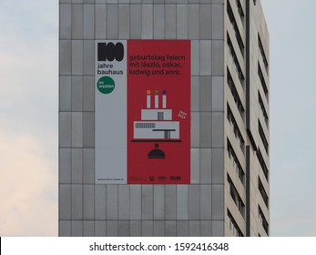 KOELN, GERMANY - CIRCA AUGUST 2019: 100 Jahre Bauhaus geburtstag feiern means 100 Years Bauhaus birthday party, with Laszlo Moholy Nagy, Oskar Schlemmer, Ludwig Mies van der Rohe and Anni