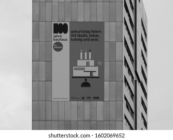 KOELN, GERMANY - CIRCA AUGUST 2019: 100 Jahre Bauhaus geburtstag feiern means 100 Years Bauhaus birthday party, with Laszlo Moholy Nagy, Schlemmer, Ludwig Mies van der Rohe and Anni in black and white