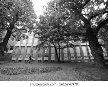 KOELN, GERMANY - CIRCA AUGUST 2019: Museum fuer angewandte Kunst (meaning Museum of applied Arts) in black and white