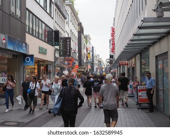 KOELN, GERMANY - CIRCA AUGUST 2019: People in Hohe Strasse (meaning High Street) shopping street