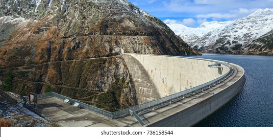 Koelnbrein Dam and the dam's reservoir in the Hohe Tauern range within federal state of Carinthia, Austria.