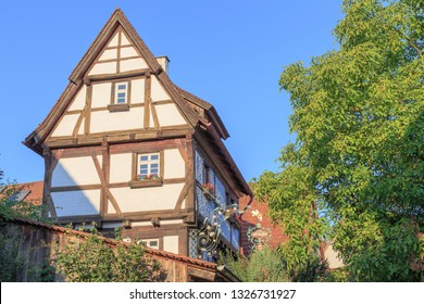 "KOENGEN, GERMANY - AUGUST 30, 2015: Restaurant ""Alte Vogtei"" the oldest building in Koengen was awarded with a Guide Michelin Star 2019 when the Restaurant was already closed for more than 6 months"