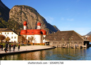 Koenigsee/Germany - October 28 2016: St Bartholomew church as seen from boat landing pier