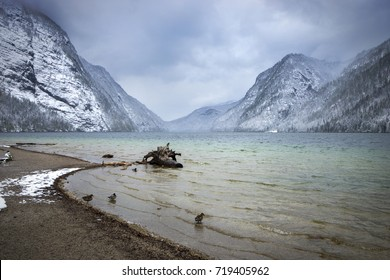 Koenigssee in April, Bavaria, Germany