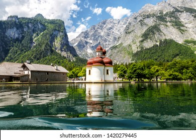Koenigssee, Church of St. Bartholomew, view from the lake