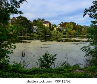 "The ""Koenigssee"", a lake named after banker Felix Koenigs, at Berlin villa colony Grunewald - The artificial lake is part of the ""Small Grunewald chain of lakes"""