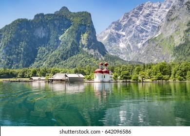 Koenigssee with St. Bartholomae near Berchtesgaden, Bavaria, Germany