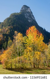 kofel mountain in autumn, famous town landmark at oberammergau tourist resort bavaria