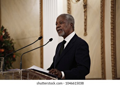 Kofi Annan, Former Secretary General of the United Nations meets the President of the Hellenic Republic Prokopis Pavlopoulos in Athens, Greece on Sep. 13, 2017