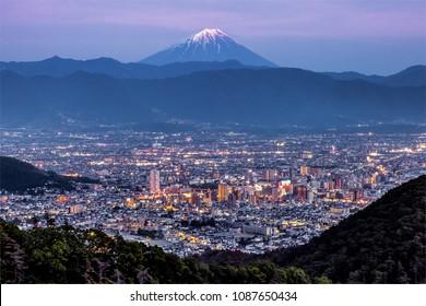 Kofu city and Mt.Fuji at twilight