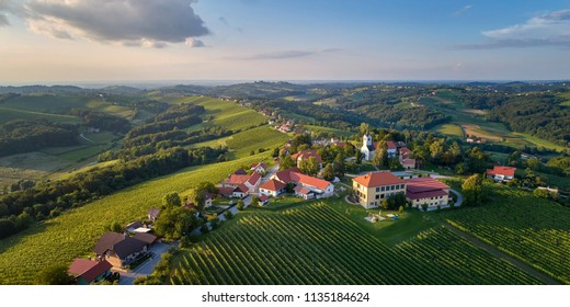Kog panorama - village in the hills northeast of Ormož in northeastern Slovenia  The parish church in the village is dedicated to Saint Wolfgang