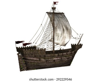 The Koggen - a sailing ship that was used during the middle ages - 3D render.