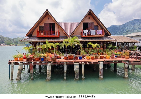 KOH CHANG, THAILAND - 3 APRIL, 2015: Houses on stilts in the fishing village of Bang Bao