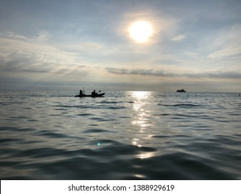 KOH CHANG, THAILAND - December 8, 2018: kayakers sailing along Lonley beach attract the attention of everyone who rests on the shore