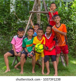 KOH CHANG, THAILAND - MAR 3, 2018: Local unknown children from the village on in Klong Song district. Ko Chang Island consisting of 8 villages with 5,356 inhabitants.