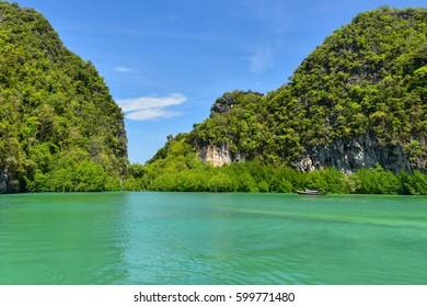 Koh Hong island is famous tour lagoon in andaman sea ,Krabi province, Thailand