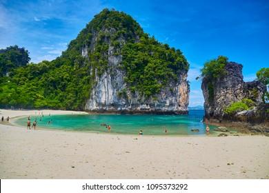 Koh Hong island with vivid beautiful sky. Exotic tropical paradise lagoon,  Krabi, Thailand.