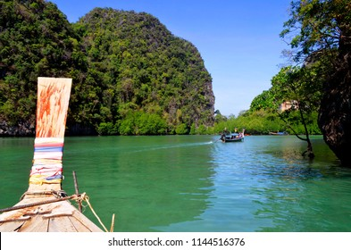 Koh Hong, Thailand - April 30, 2015: The lagoon at high tide with emerald green water.