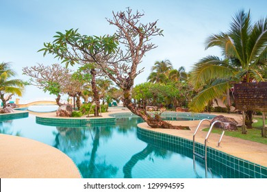 KOH KHO KHAO, THAILAND - NOV 5: Scenery of swimming pool at Andaman Princess Resort & SPA. Hotel was destroyed by tsunami in 2004 and rebuild, Koh Kho Khao, Phang Nga in Thailand on Nov. 5, 2012.