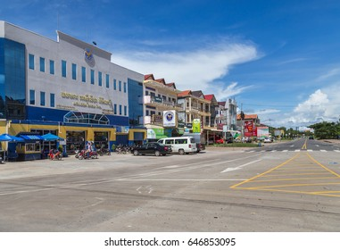 KOH KONG, CAMBODIA - SEPTEMBER 4, 2015:  Streets and buildings of the main street in Koh Kong  province Cambodia on a sunny day. Koh Kong is province a popular tourist town