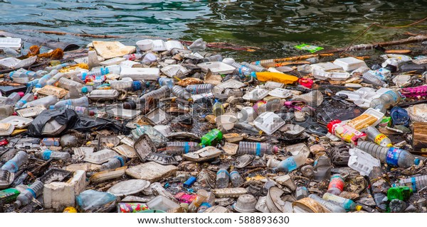 KOH KONG - JANUARY 3: Floating garbage in the sea on the waterfront of the city in January 3, 2017 in Koh Kong, Cambodia.