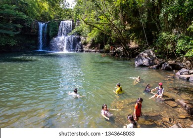 Koh Kood island, Trat, Thailand : Wednesday 20 March 2019, People enjoy playing waterfall and swimming at Klong Chao Waterfall is the only one waterfall in Koh Kood island