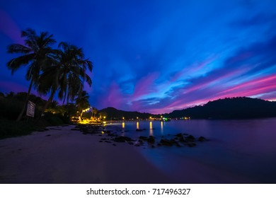 koh kood, National park of Thailand,Eastern of Thailand in Dusk. Sunset at the beach,Sky turned to purple,pink and dark blue.
