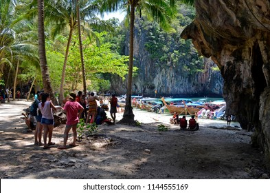 Koh Lading, Thailand - April 30, 2015: Tourists on Koh Lading, one of the Hong islands in the Andaman Sea.