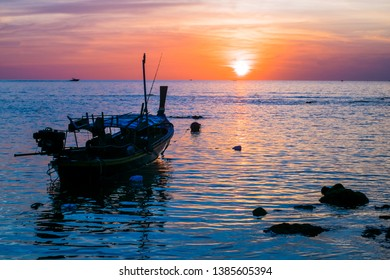 Koh Lanta island. Thailand. 15/12/2018. Klong Khong Beach. Fisher boat at sunset