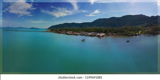 Koh Lanta Old Town Aearial Drone Image. Wide view.