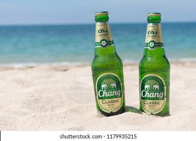 Koh Lanta, Thailand - 20 may 2017: Chang Beer on the beach.