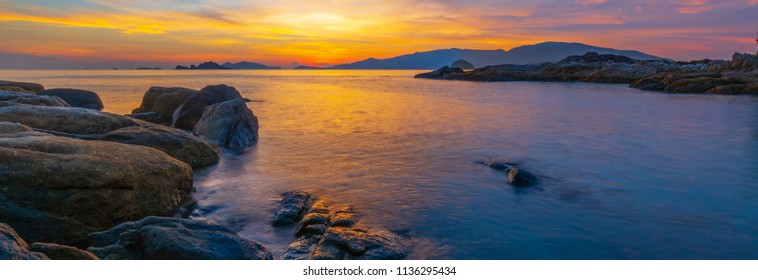 Koh Lipe sunset landscape view at rocky beach in Satun, Thailand, Travle thailand