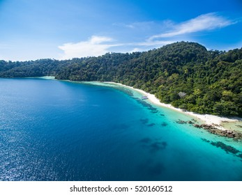 Koh LIPE Thailand. Aerial view  a paradise with perfect crystal clear turquoise ocean water. pure white sand beach on Ko Lipe island, South Thailand.