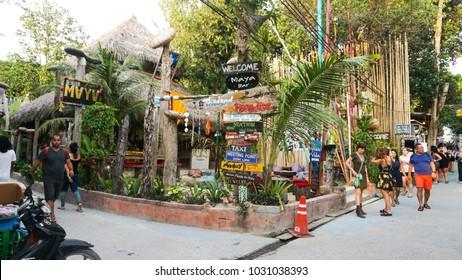 Koh Lipe, Thailand - January 16, 2018 -  Beautiful restaurant facade & small shop door beside the road of walking street in Koh Lipe.
