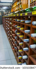 Koh Lipe, Thailand - January 16, 2018 - rows of shelves with variety of drinks like beer bottle, wine & alcohol in a Grocery market, Convenience Store.