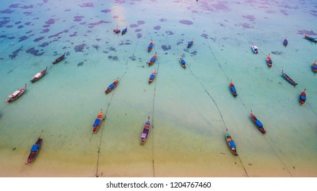 Koh Lipe Thailand. Paradise Island with Blue Sea and there are many ships on the sea. Coral complete White sand beach on Koh Lipe island,South Thailand.High-angle photography using drone.