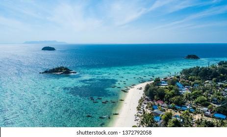 Koh Lipe, tropical beach in Thailand. Sunrise Beach in the morning aerial view