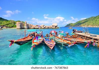 Koh Nang Yuan,Suratthani-March 7,2014:pier at Nang Yaun Island.,a worldclass island in Thailand