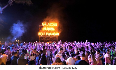 koh Phangan / Thailand - 20 March 2019: Burning Words on Haad Rin Beach at Full Moon Party in Koh Phangan island, Thailand