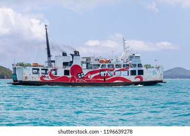 KOH PHANGAN, THAILAND - MARCH 19, 2018 : Raja Ferry conveying passengers, cars and goods from Donsak pier to Samui and Phangan port island