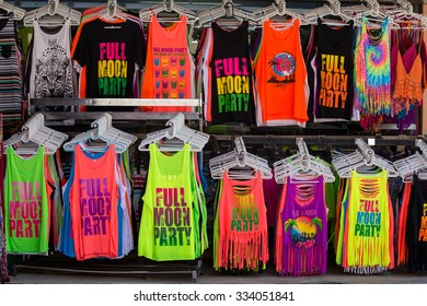 KOH PHANGAN, THAILAND - OCTOBER 30, 2015:  Colorful T-shirts sold on the island during the full moon party.