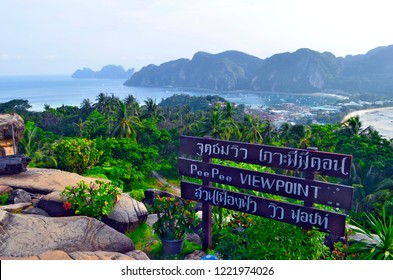 Koh Phi Phi Don, Krabi province, Thailand - April 27, 2017: Koh Phi Phi Leh far in the background and the Tonsai bay and the isthmus from the viewpoint of the island.