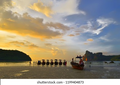 Koh Phi Phi Don, Thailand - October 24, 2013: Sunset above the Loh Dalum bay at low tide.