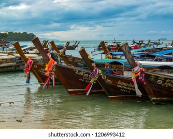 Koh Phi Phi / Thailand - July 16th 2016: Longtail boats on Koh Phi Phi