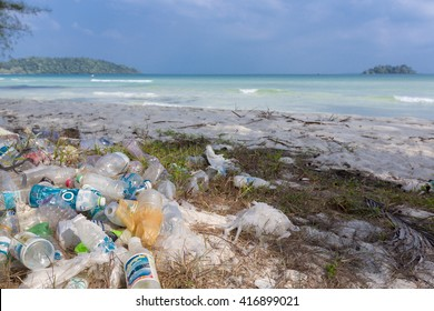 KOH RONG, CAMBODIA - JANUARY 24: Garbage and plastic bottles on a beach left by tourist at, Rong Island near Sihanoukville. Environmental pollution concept picture, Cambodia. South East Asia 2016