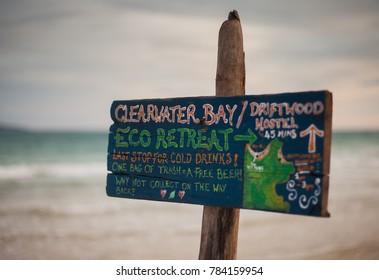KOH RONG SAMLOEM ISLAND, CAMBODIA - DECEMBER 23 2017: Signs, symbols